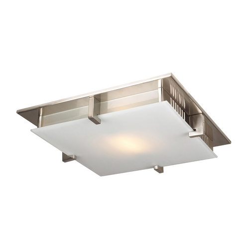 PLC Lighting Modern Flushmount Light with White Glass in Satin Nickel Finish 904 SN