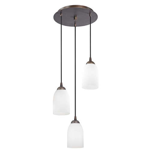 Design Classics Lighting Modern Multi-Light Pendant Light with White Glass and 3-Lights 583-220 GL1028D