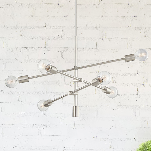 Design Classics Lighting Mid-Century Modern Pendant Cluster Light Satin Nickel 1950-09
