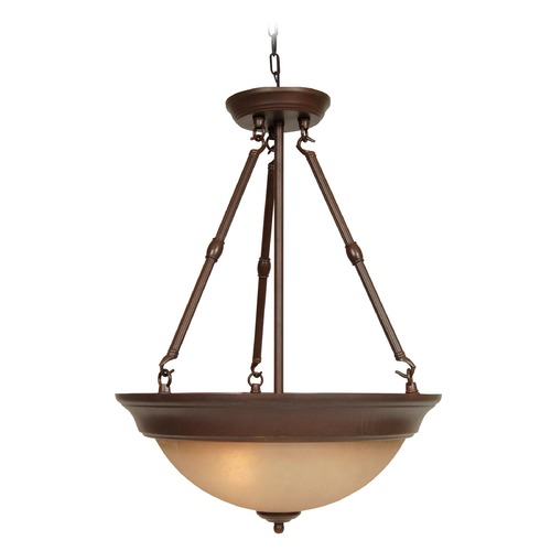 Jeremiah Lighting Jeremiah Aged Bronze Textured Pendant Light with Bowl / Dome Shade X725-AG