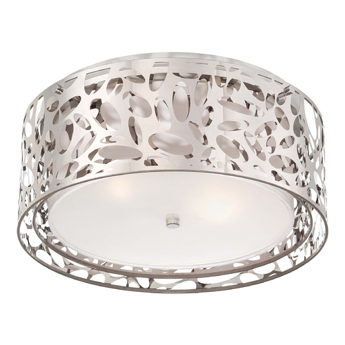 George Kovacs Lighting Modern Flushmount Light with White Cage Shades in Chrome Finish P7989-077