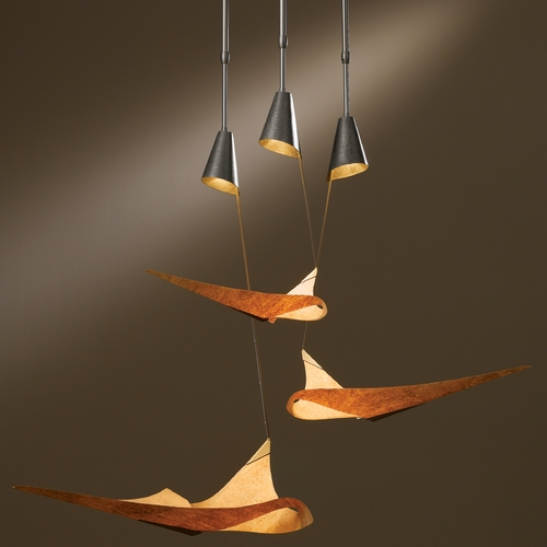 Hubbardton Forge Lighting Hubbardton Forge Lighting Icarus Burnished Steel Multi-Light Pendant with Conical Shade 133360-SKT-STND-08-SG1978