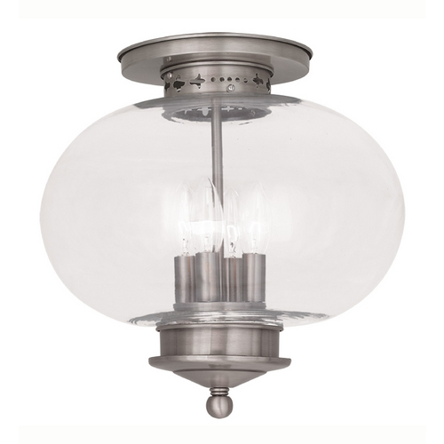 Livex Lighting Livex Lighting Harbor Brushed Nickel Close To Ceiling Light 5039-91