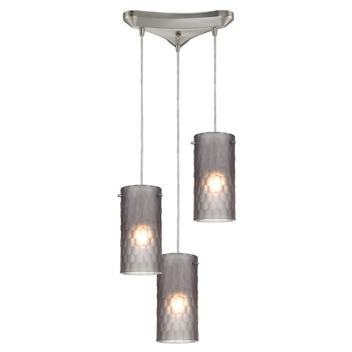 Elk Lighting Elk Lighting Synthesis Satin Nickel Multi-Light Pendant with Cylindrical Shade 10243/3FSM