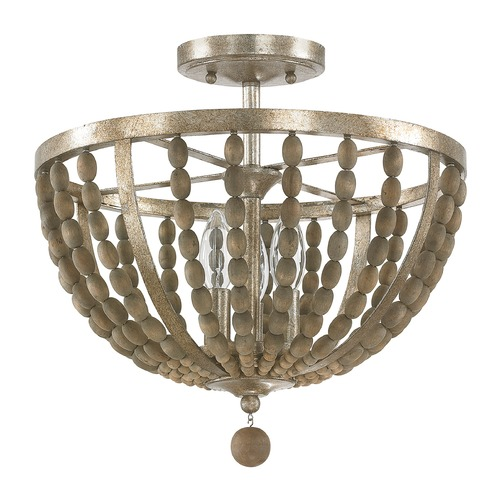 Capital Lighting Capital Lighting Lowell Tuscan Bronze with Wood Beads Semi-Flushmount Light 4795TZ
