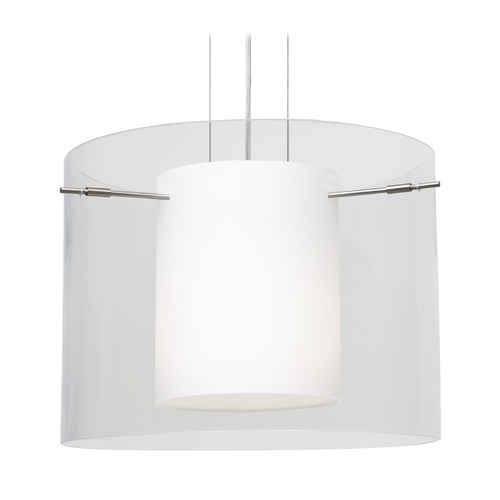 Besa Lighting Besa Lighting Pahu Satin Nickel LED Pendant Light with Drum Shade 1KG-C00707-LED-SN