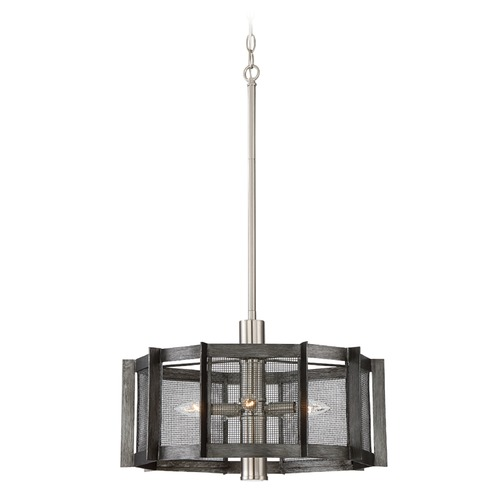 Designers Fountain Lighting Designers Fountain Baxter Weathered Iron Pendant Light with Drum Shade 89385-WI