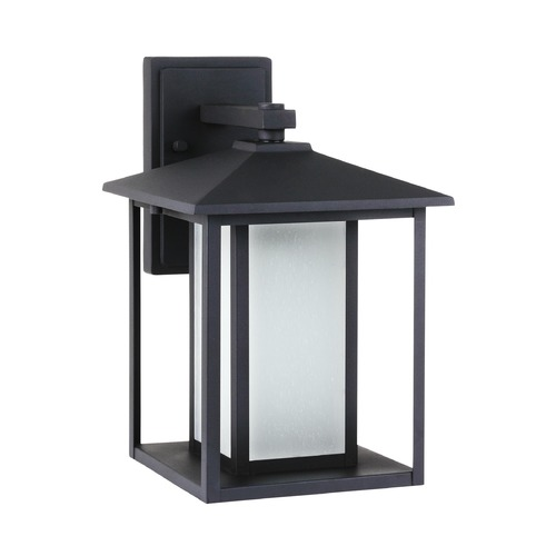 Sea Gull Lighting Etched Seeded Glass Outdoor Wall Light Black Sea Gull Lighting 89031-12