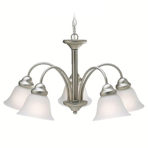 Kichler Lighting Kichler Chandelier with White Glass in Brushed Nickel Finish 2093NI