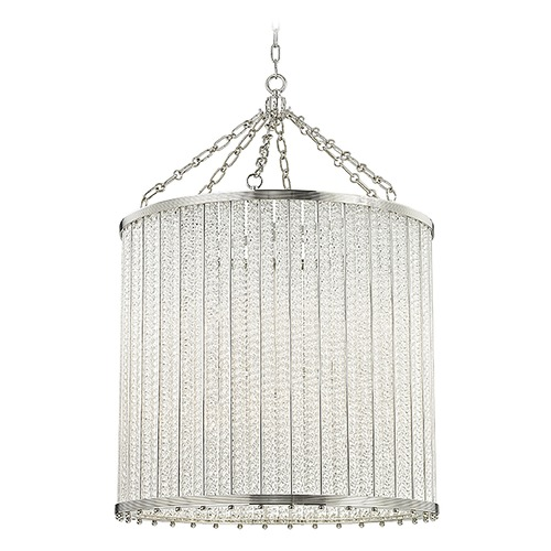 Hudson Valley Lighting Hudson Valley Lighting Shelby Polished Nickel Pendant Light with Drum Shade 8140-PN