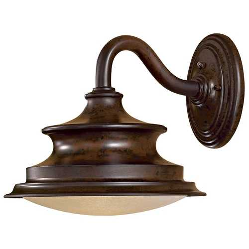 Minka Lavery Outdoor Wall Light with Beige / Cream Glass in Windsor Rust Finish 8122-A188-PL