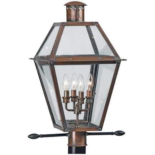 Quoizel Lighting Post Light with Clear Glass in Aged Copper Finish RO9014AC