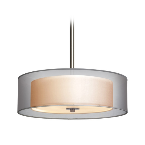 Sonneman Lighting Modern Drum Pendant Light with Silver Shades in Satin Nickel Finish 6021.13