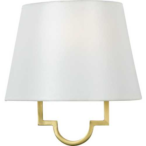 Quoizel Lighting Modern Sconce Wall Light with White Shade in Gallery Gold Finish LSM8801GY