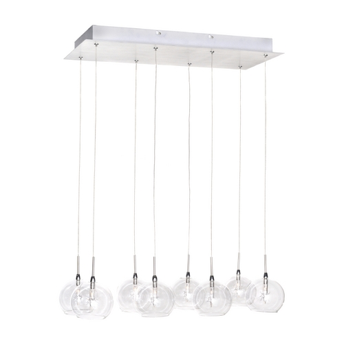 ET2 Lighting Modern Low Voltage Multi-Light Pendant Light with Clear Glass and 8-Lights E20107-24