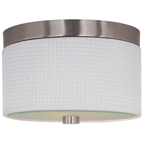 ET2 Lighting Modern Flushmount Light with White Shades in Satin Nickel Finish E95100-100SN
