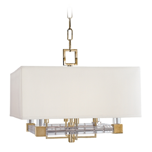 Hudson Valley Lighting Hudson Valley Vintage Crystal Brass Pendant Light with White Shade 7120-AGB