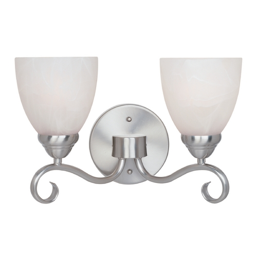 Designers Fountain Lighting Bathroom Light with Alabaster Glass in Satin Platinum Finish 98002-SP