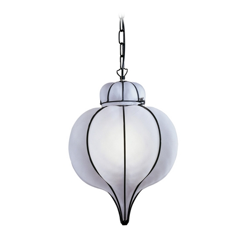 PLC Lighting Modern Pendant Light with White Glass in Black Finish 8900 SATIN/ BK