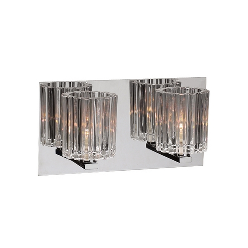 PLC Lighting Modern Bathroom Light with Clear Glass in Polished Chrome Finish 1062 PC