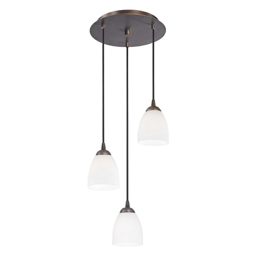 Design Classics Lighting Modern Multi-Light Pendant Light with White Glass and 3-Lights 583-220 GL1028MB