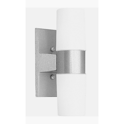 Progress Lighting Progress Outdoor Wall Light with White Glass in Satin Aluminum Finish P5512-16