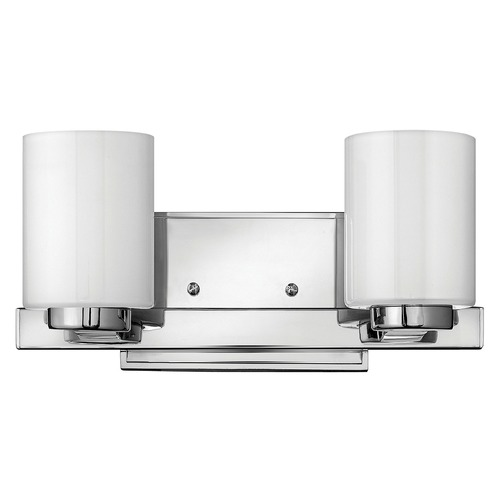 Hinkley Lighting Bathroom Light with White Glass in Chrome Finish 5052CM