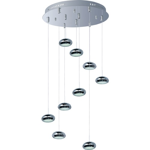 ET2 Lighting Dial Polished Chrome LED Multi-Light Pendant with Oval Shade E22558-PC