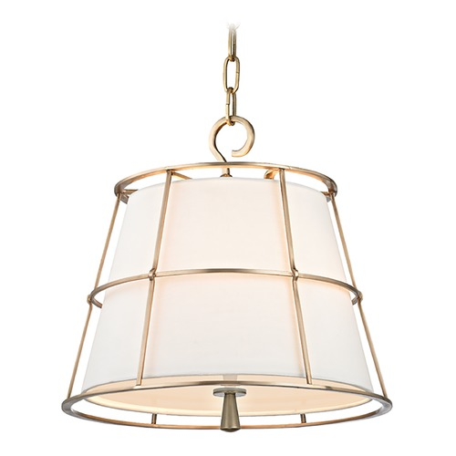 Hudson Valley Lighting Hudson Valley Lighting Savona Aged Brass Pendant Light with Empire Shade 9816-AGB