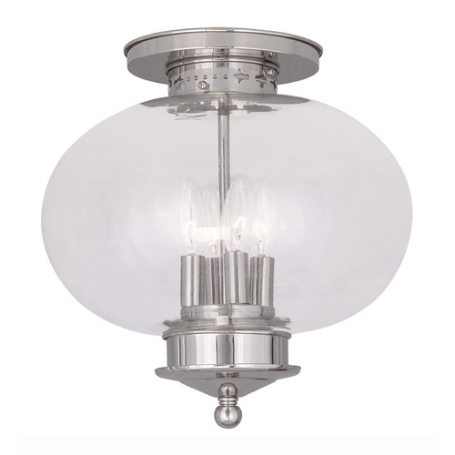 Livex Lighting Livex Lighting Harbor Polished Nickel Close To Ceiling Light 5039-35
