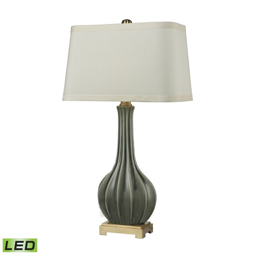 Dimond Lighting Dimond Lighting Grey Glaze, Antique Brass LED Table Lamp with Rectangle Shade D2595-LED