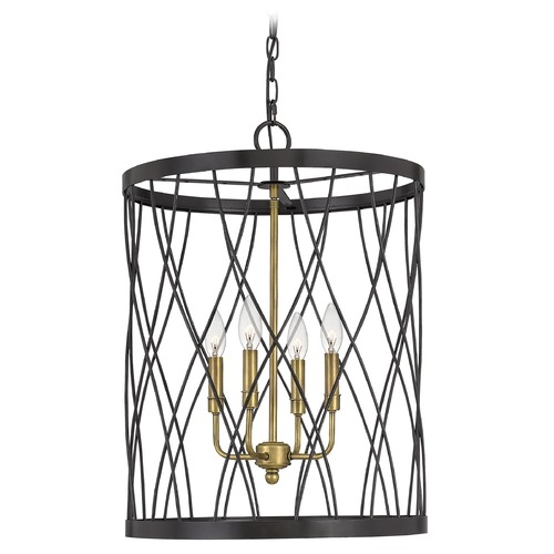 Quoizel Lighting Quoizel Lighting Kerouac Western Bronze Pendant Light with Cylindrical Shade QF5221WT