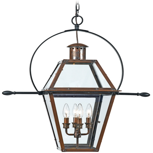 Quoizel Lighting Outdoor Hanging Light with Clear Glass in Aged Copper Finish RO1914AC