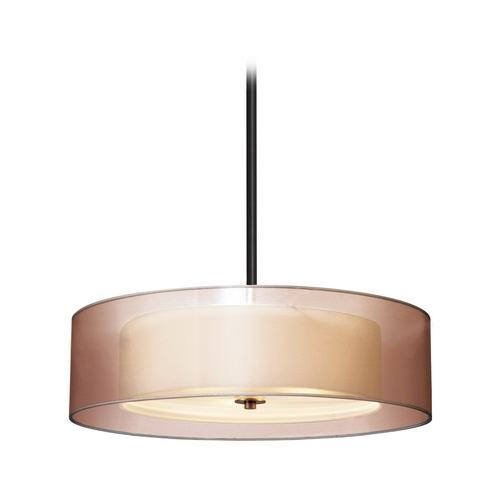 Sonneman Lighting Modern Drum Pendant Light with Brown Tones Shades in Black Brass Finish 6022.51