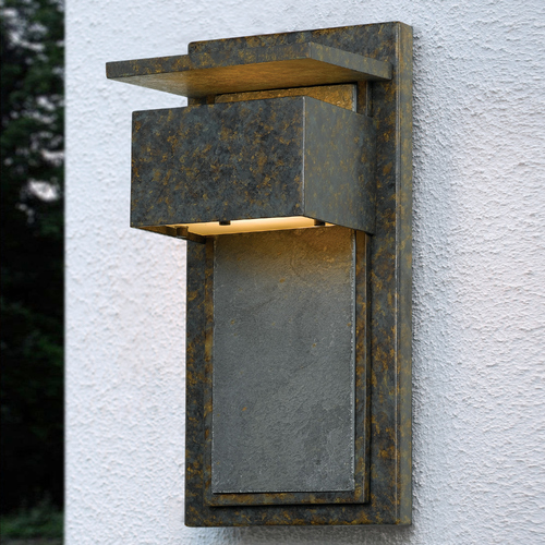 Quoizel Lighting Modern Outdoor Wall Light with White Glass in Muted Bronze Finish ZP8414MD