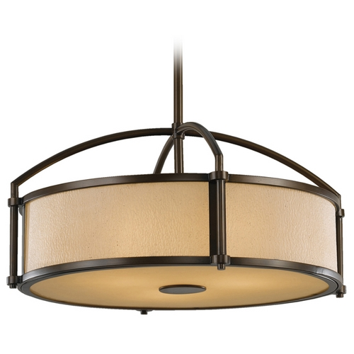 Feiss Lighting Modern Drum Pendant Light with Amber Glass in Heritage Bronze Finish F2489/3HTBZ