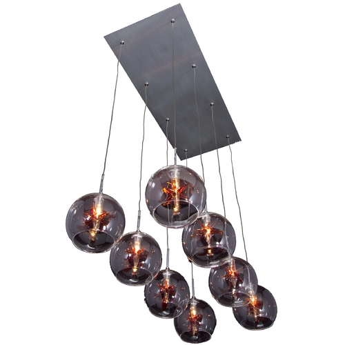 ET2 Lighting Modern Low Voltage Multi-Light Pendant Light with Clear Glass and 8-Lights E20107-25