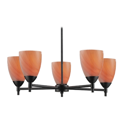 Elk Lighting Chandelier with Art Glass in Dark Rust Finish 10155/5DR-SY
