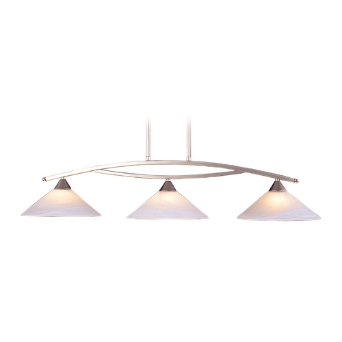 Elk Lighting Modern Island Light with White Glass in Satin Nickel Finish 6502/3