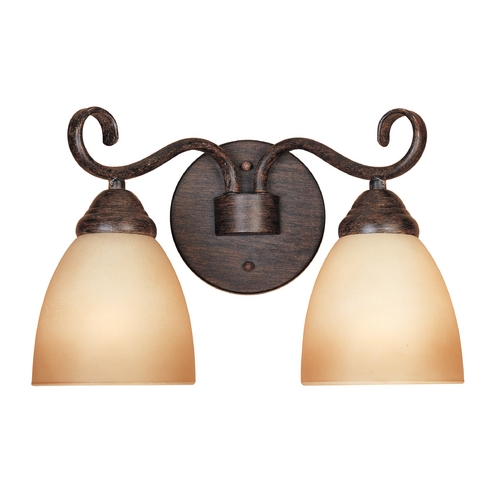 Designers Fountain Lighting Bathroom Light with Amber Glass in Warm Mahogany Finish 98002-WM