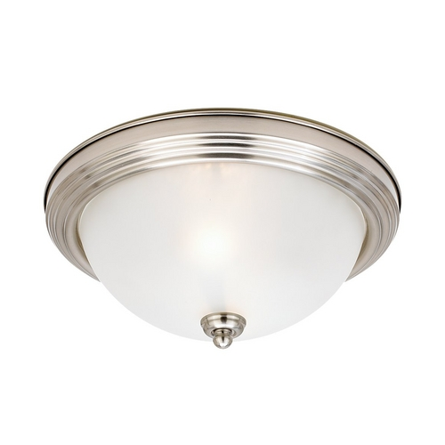 Sea Gull Lighting Flushmount Light with White Glass in Brushed Nickel Finish 79364BLE-962