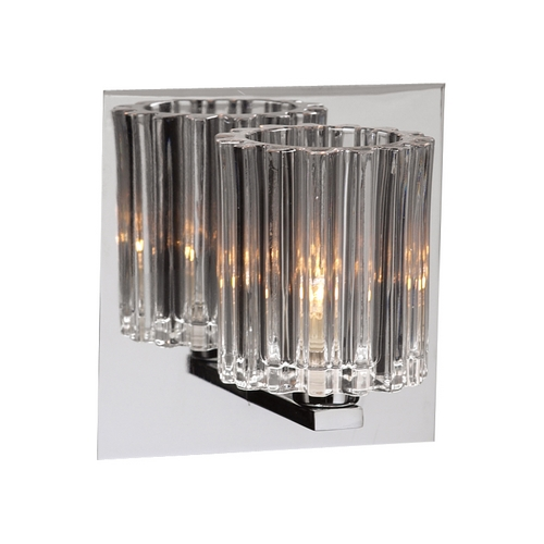 PLC Lighting Modern Sconce Wall Light with Clear Glass in Polished Chrome Finish 1061 PC
