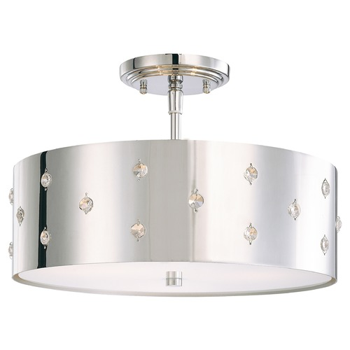 George Kovacs Lighting Three-Light Chrome Semi-Flushmount with Crystal Accents P035-077