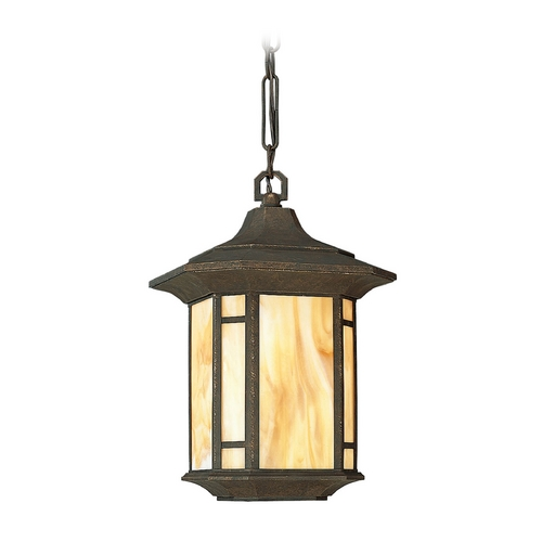 Progress Lighting Progress Outdoor Hanging Light with Art Glass in Bronze Finish P5528-46