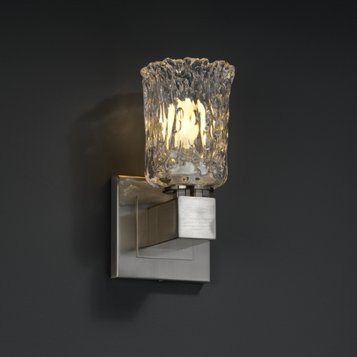 Justice Design Group Justice Design Group Veneto Luce Collection Brushed Nickel Sconce GLA-8705-16-CLRT-NCKL
