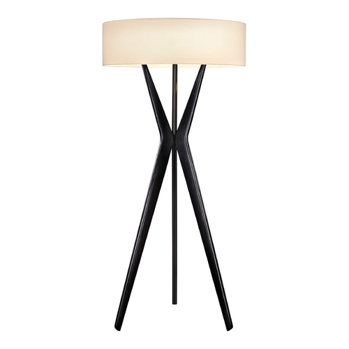 Sonneman Lighting Large Tripod Modern Floor Lamp in Black Finish with Drum Shade 6152.25