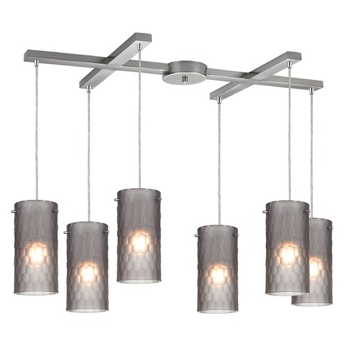 Elk Lighting Elk Lighting Synthesis Satin Nickel Multi-Light Pendant with Cylindrical Shade 10243/6FSM