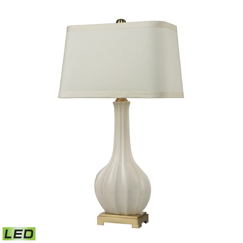 Elk Lighting Dimond Lighting Cream Glaze, Antique Brass LED Table Lamp with Rectangle Shade D2596-LED