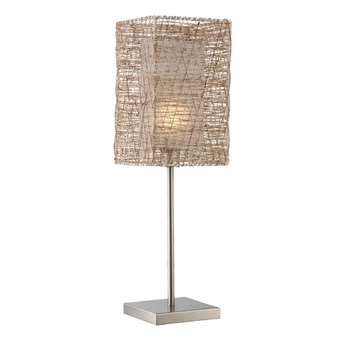 Lite Source Lighting Lite Source Polished Steel Table Lamp with Rectangle Shade LS-22779