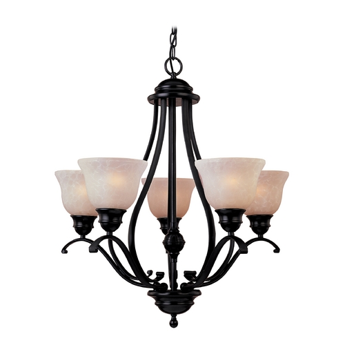 Maxim Lighting Chandelier with Beige / Cream Glass in Oil Rubbed Bronze Finish 85805WSOI